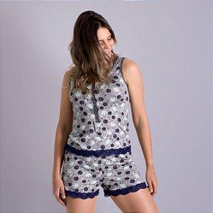 Pijama Baby Doll Regata com botões e Short com Renda estampa floral e xadrez