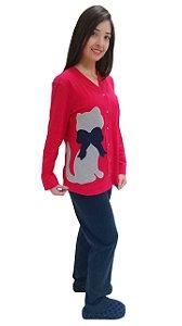 Pijama feminino longo amamentação gato