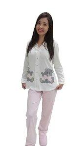 Pijama feminino longo amamentação urso