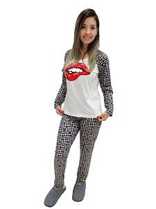 Pijama feminino longo boca