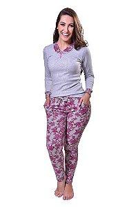 Pijama feminino longo floral
