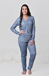 Pijama feminino longo de algodão suedine listrado e poá