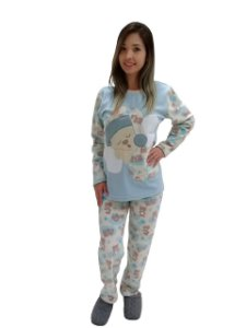 Pijama feminino longo inverno ursinho cut