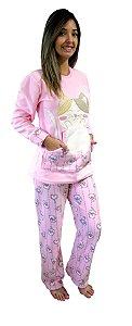 Pijama feminino longo microsoft gato
