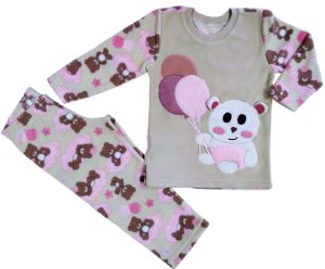 Pijama infantil feminino longo soft ursinho