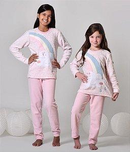 Pijama infantil feminino de inverno soft chuva de amor