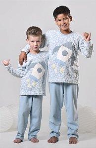 Pijama infantil masculino de inverno soft  foguete