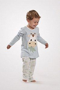 Pijama longo algodão infantil modelo mãe e filhos Girafa