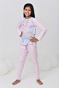 Pijama Unicórnio infantil longo com pom pom