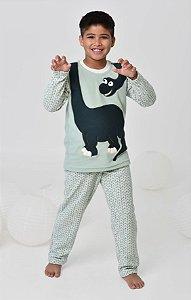 Pijama infantil de inverno soft de dinossauro mãe e filho