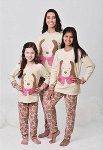 Pijama feminino de inverno soft de cachorro mãe e filha