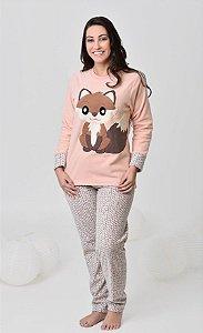 Pijama feminino de inverno soft de raposa mãe e filha