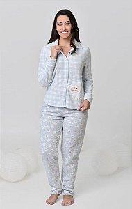 Pijama feminino de inverno soft  bordado de ovelha com abertura frontal