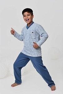 Pijama infantil masculino longo soft casual