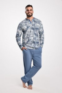 Pijama masculino longo básico em algodão com botão