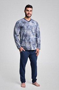 Pijama masculino longo listrado em algodão
