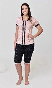 Pijama feminino curto corsário com abertura frontal