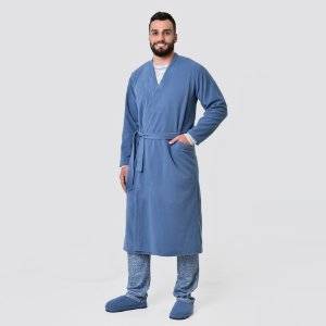 Roupão Masculino de Inverno Soft Azul Jeans