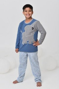 Pijama infantil masculino de inverno soft de elefante