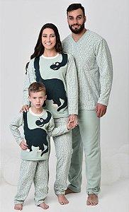 Pijama feminino de inverno soft de dinossauro mãe e filho