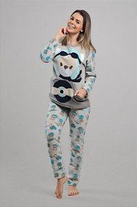 Pijama Urso Aviador Soft Adulto - Modelo Família