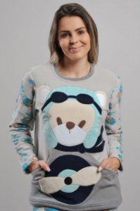 Pijama Urso Aviador Soft Adulto