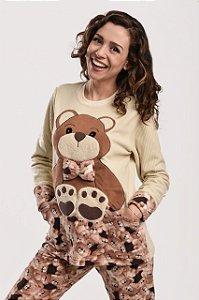 Pijama feminino de inverno soft com bolso de urso