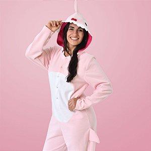 Pijama Inverno Adulto Mommy Shark Macacão Kigurumi Cosplay Com Capuz Rosa