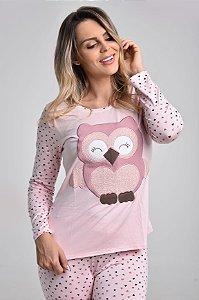 Pijama Longo Coruja e Corações