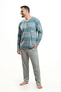 Pijama Longo Algodão Masculino Listrado Verde