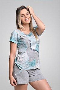 Pijama Curto Algodão Dino Feminino Adulto