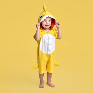 Pijama Fantasia Curta Infantil Baby Shark Amarelo