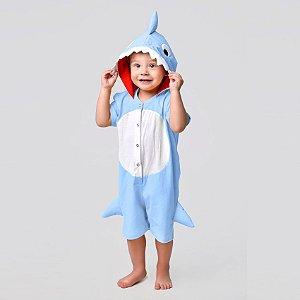 Pijama Fantasia Curta Infantil Baby Shark Azul