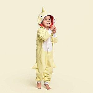 Pijama Inverno Baby Shark Macacão com capuz Amarelo
