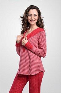 Pijama Agasalho com Botões Vermelho Bubble