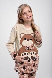 Pijama Inverno Ursa com Bolso Marrom Infantil