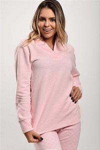 Pijama Inverno Soft com Gola Rosa Listrado/Xadrez