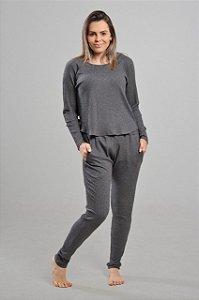 Pijama Agasalho Homewear Canelado com Bolso