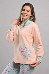 Pijama soft Salmão Floral