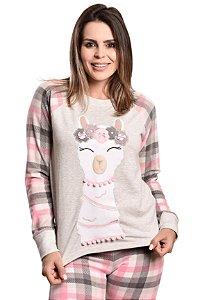 Pijama Longo Lhama Plush Adulto - Modelo Família