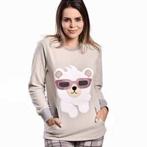 Pijama Longo Soft  Urso de Óculos I Feminino