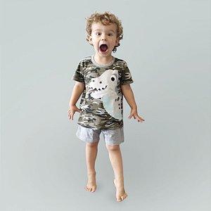 Pijama Algodão Camuflado Curto Dinossauro Filho Infantil