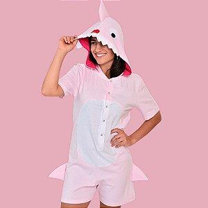 Pijama Fantasia Curta Adulta Mommy Shark Rosa