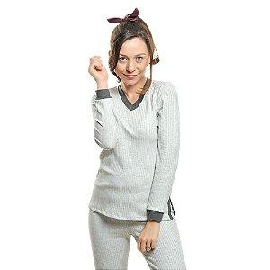 Pijama Ajustado com Punho Canelado MESCLA