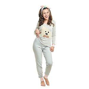 Pijama Algodão Cachorro Xadrez - Modelo Família Mãe