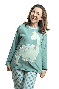 Pijama Soft Xadrez Dinossauro Mãe - Modelo Família