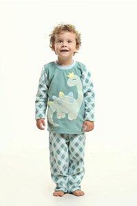 Pijama Soft Xadrez Dinossauro Filhos - Modelo Família