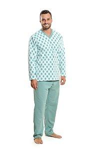 Pijama Soft Xadrez Dinossauro Pai - Modelo Família
