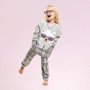 Pijama Longo Soft Urso De Óculos Infantil Feminino - MODELO FAMÍLIA