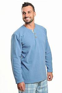 Pijama Polo Soft Xadrez Azul Inverno - Modelo Família